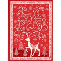Makower 'Scandi Reindeer' Advent Calendar Panel Red
