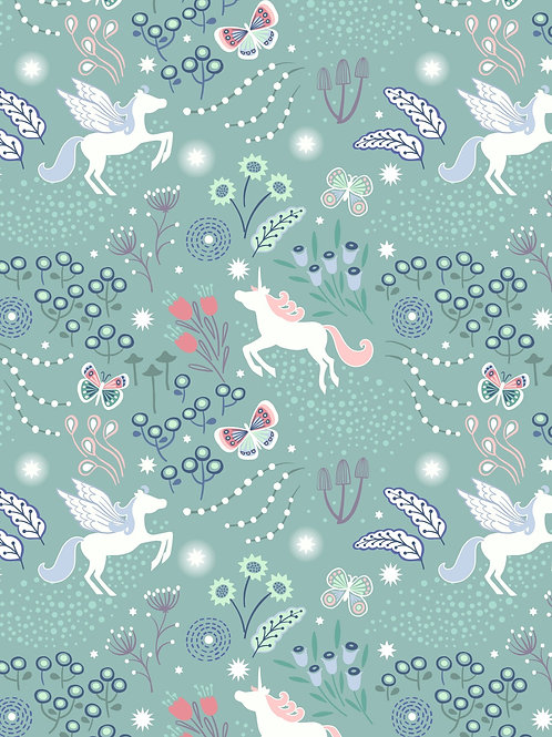 Lewis & Irene  - Fairy Nights Unicorn Meadow on Soft Teal