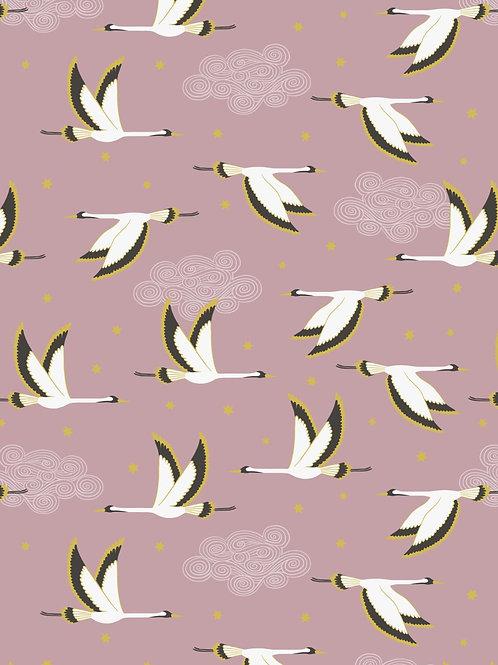 Jardin de Lis - Heron on Pink with gold metallic