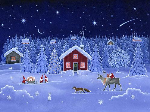 Lewis & Irene  - Tomten's Christmas - Double Border Winter Scene