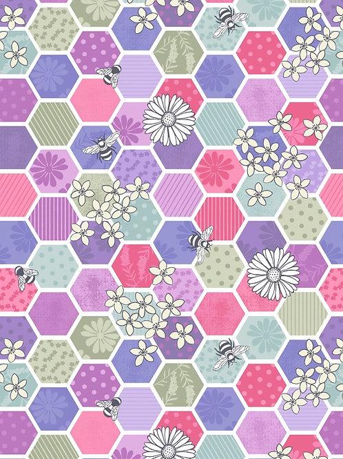 Lewis and Irene - 'Bee Kind' Bee Hexagons in Pinks