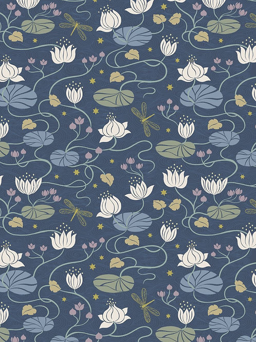 Jardin de Lis - Lillies on Blue with gold metallic