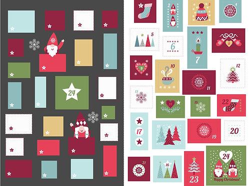 'Hygge' Christmas Advent Calendar large panel - Slate
