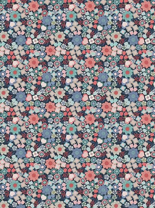 Lewis & Irene  - Michaelmas - Multi floral on Dark Blue