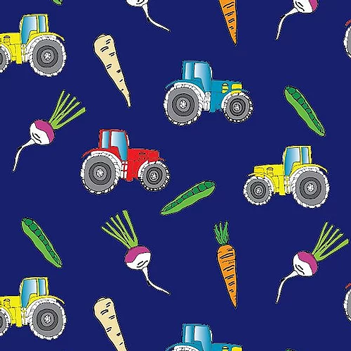 100% Organic Cotton Jersey 'Large Farm Tractors'
