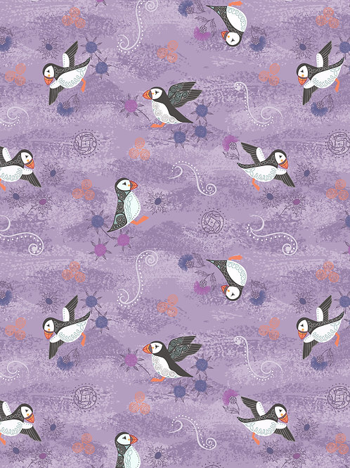 Lewis & Irene  - 'Iona' Purple Puffins with copper