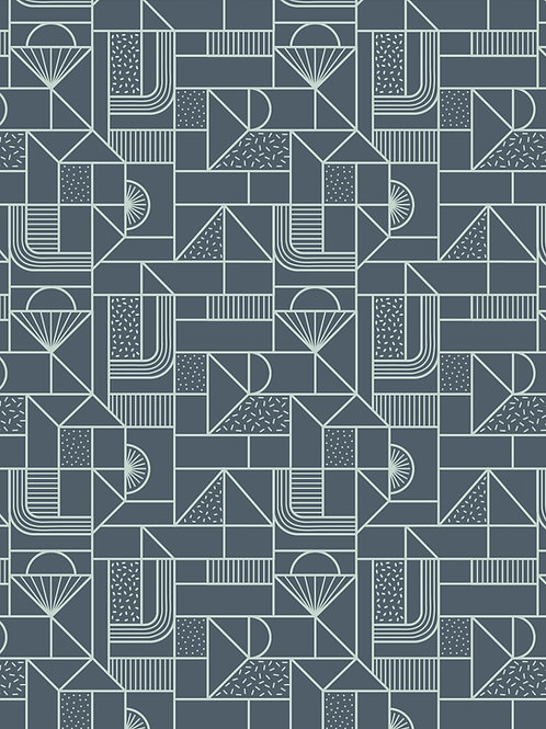 Lewis & Irene - Forme All over Geometric Soft Blue on Navy
