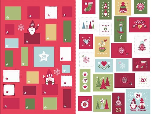 'Hygge' Christmas Advent Calendar large panel - Red