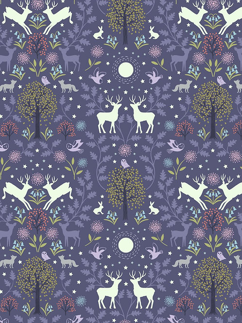 Nighttime in Bluebell Wood -  Mirrored woodland on Ink