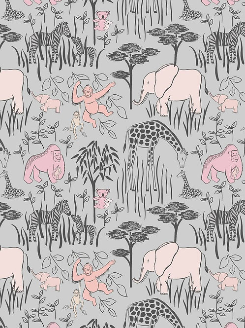 Animal Parents with babies Pink on Grey
