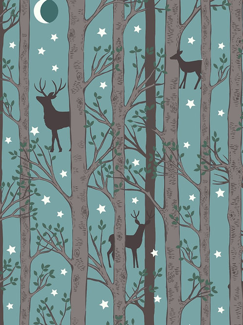 Nighttime in Bluebell Wood - Forest Deer Blue