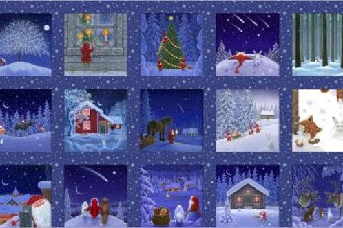 Lewis & Irene  - Tomten's Christmas - 5 inch squares panel