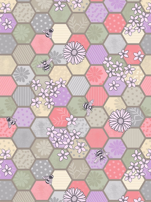 Lewis and Irene - 'Bee Kind' Bee Hexagons on Natural