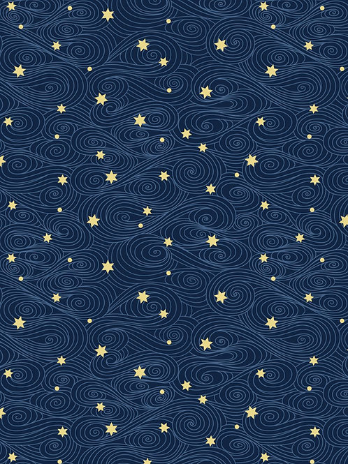 Jardin de Lis - Gold Stars on Blue