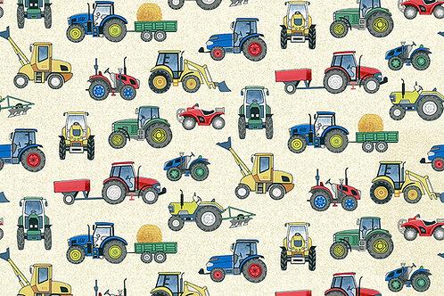 Makower 'Village Life' Tractors on Cream