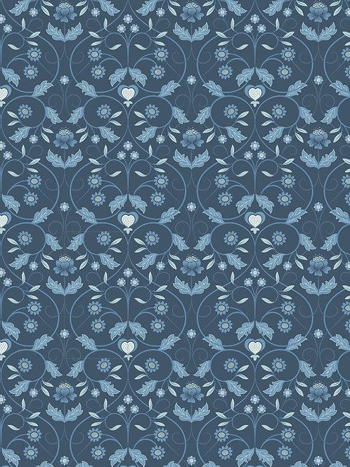 Lewis & Irene  - Michaelmas - Blue Mono Floral