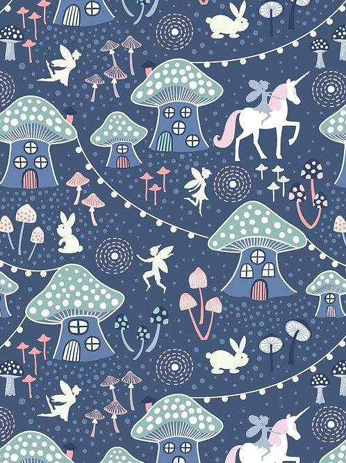 Lewis & Irene  - Fairy Nights Mushroom Village on Midnight Blue