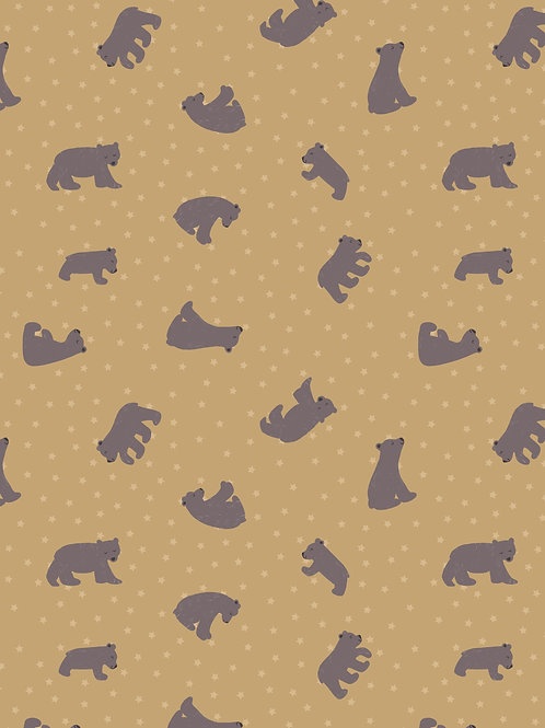 Lewis & Irene  - 'Bear Hug' Starry Bears Ochre