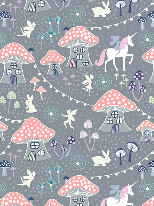 Lewis & Irene  - Fairy Nights Mushroom Village on dusky grey
