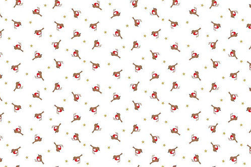 Makower 'Silent Night' Robins on White