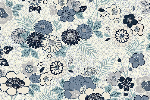 Makower 'Indigo' Floral Montage on Cream