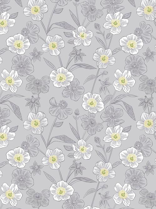 Lewis & Irene  - Botanic Garden - Rambling floral on lightest Grey