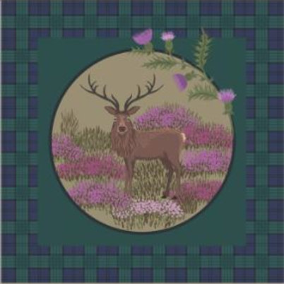 Lewis & Irene - Celtic Coorie - Stag on Green check