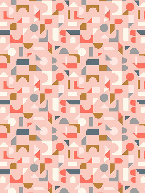 Lewis & Irene - Forme Scattered Geometric on Blush Pink