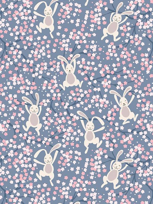 Bunny Hop - Swinging bunnies on light Denim