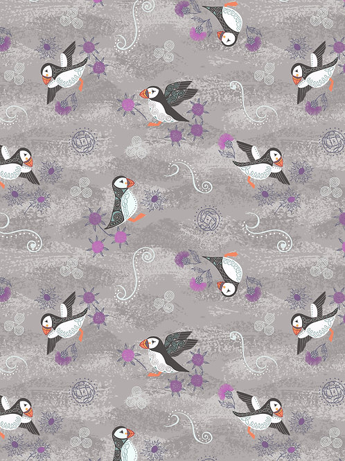 Lewis & Irene  - 'Iona' Warm Grey Puffins with silver