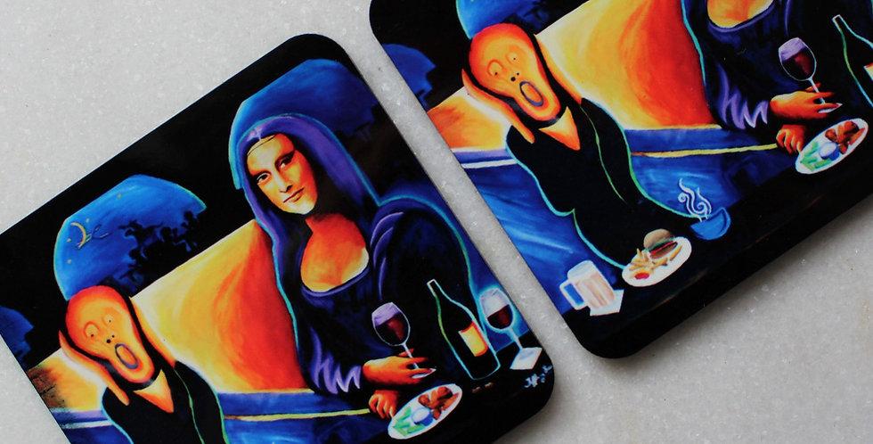 Mona Lisa's Date Set of 4 Collectible Coasters