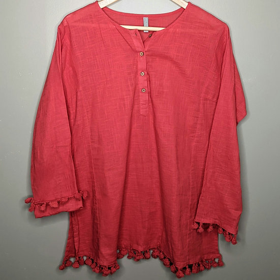 Embellish Pom Poms Relaxed Fit Blouse