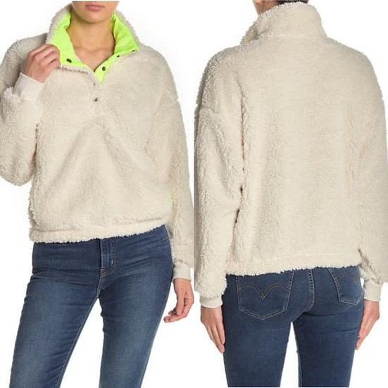 Abound Faux Shearling Fleece Pullover Sweater