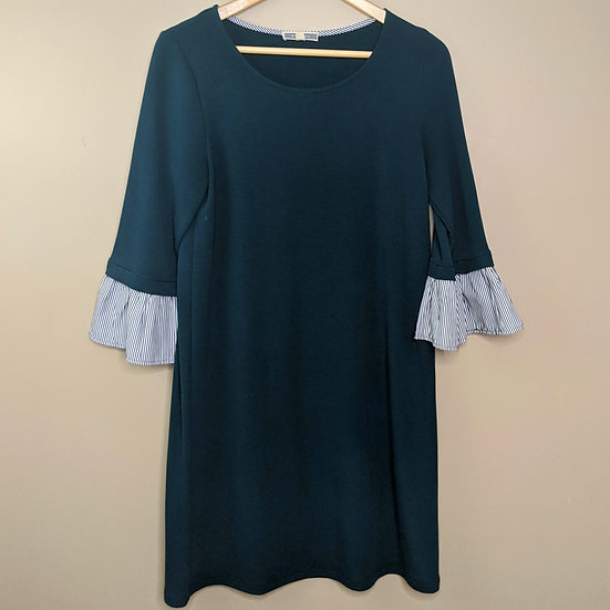 Pleione Striped Ruffle Sleeve Knit Dress