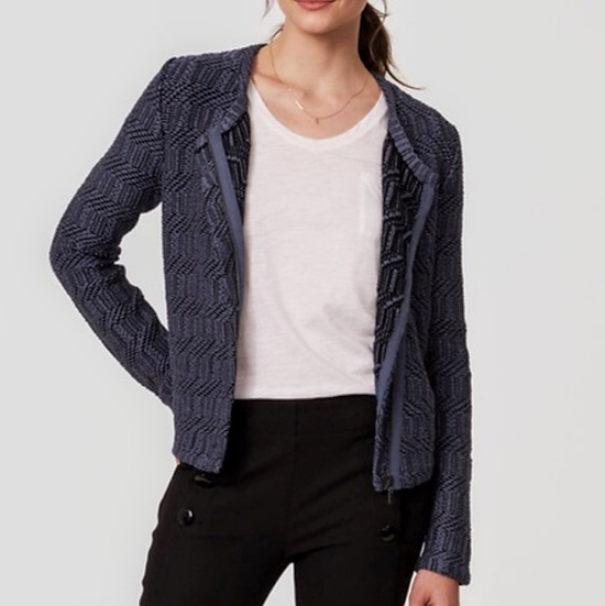 Ann Taylor LOFT Slate Maze Moto Sweater Jacket