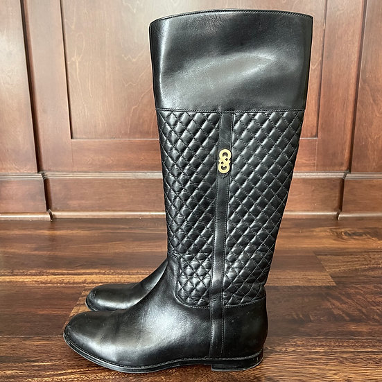 Cole Haan Black Rigby Quilted Leather Riding Boots