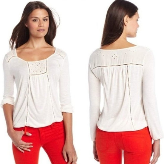 Lucky Brand Cailey Cut Out Peasant Blouse