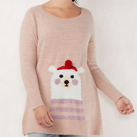 LC Lauren Conrad Festive Polar Bear Sweater