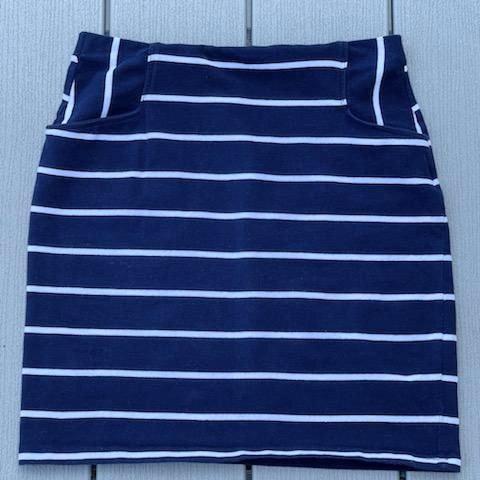 Xhilaration Navy Blue Striped Bodycon Skirt