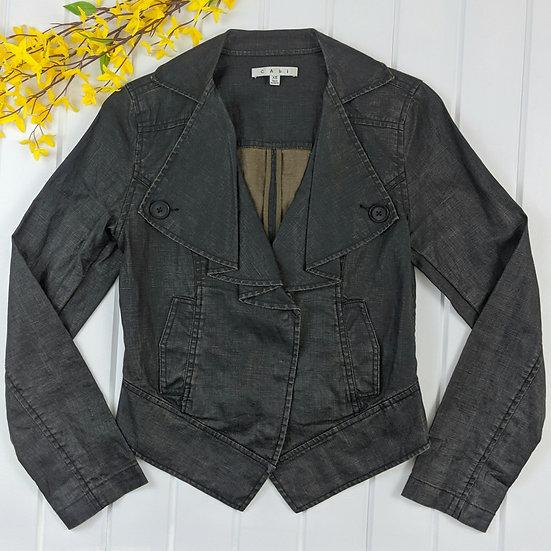 CAbi Waxed Linen Cropped Moto Jacket