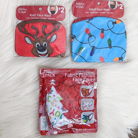 Adult & Kids Winter Holiday Face Masks Bundle