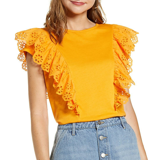 Rachel Parcell Eyelet Ruffle Detail T-Shirt