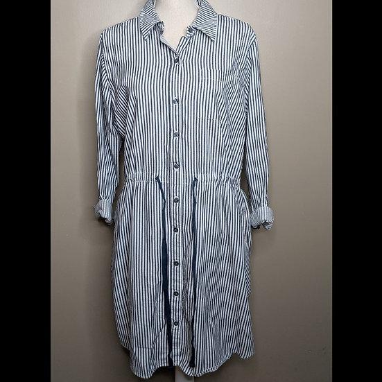 Bass Long Sleeve Button Up Striped Dress