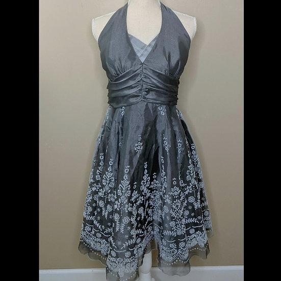 Wendye Chaitin Halter Embroidered Formal Dress