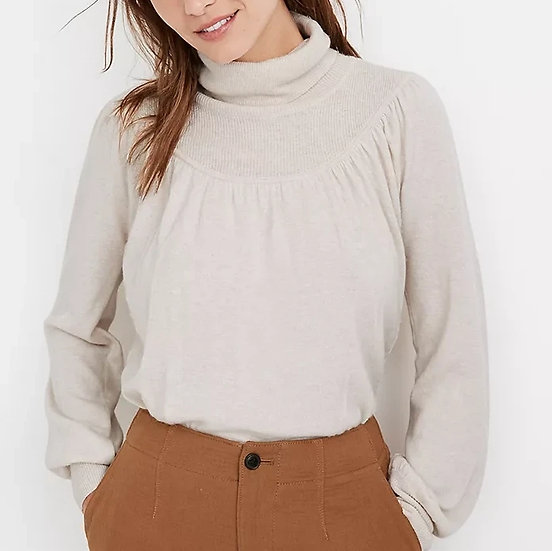 Madewell Shirred Balloon-Sleeve Turtleneck Sweater