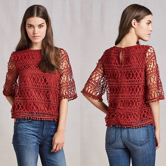 Tularosa Cannes Lace Top in Clay