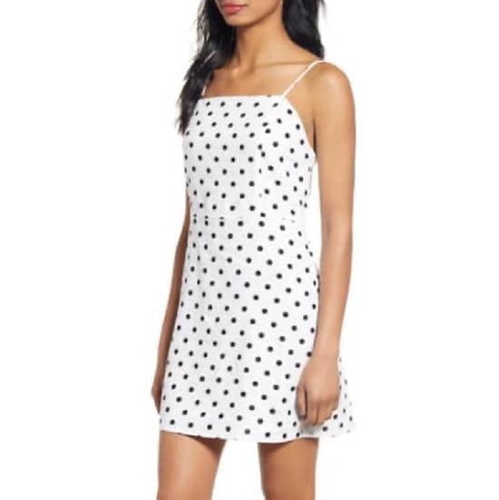 BP Linen Blend Polka Dot Dress