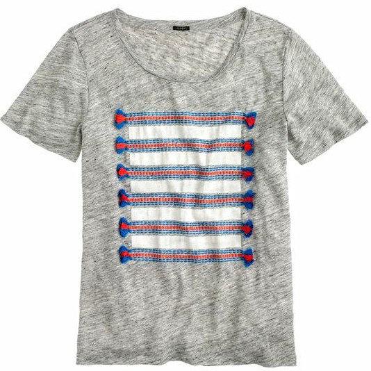 J. Crew Linen Embroidered Tassel Shirt