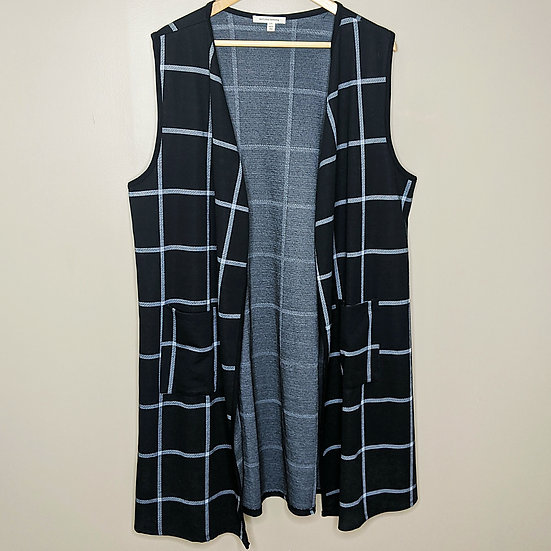 Black Open Window Pane Plaid Vest