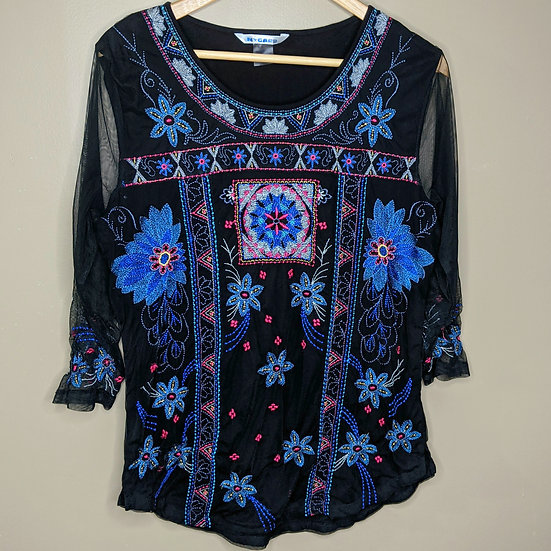 Peter Nygard Mesh Sleeves Floral Blouse